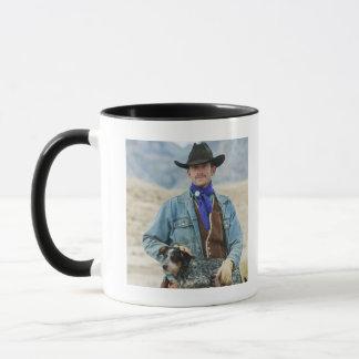 Mug Cowboy et chien sur le cheval