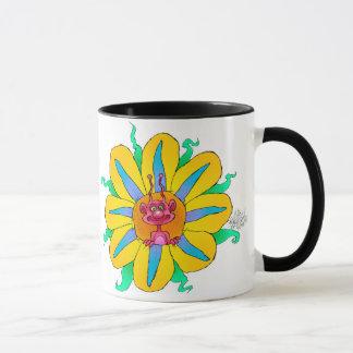 Mug Créatures de regard drôles en fleurs, sur une