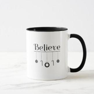 Mug Croyez Noël de typographie noir et blanc