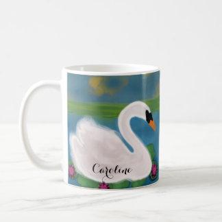 Mug Cygne blanc personnalisé dans l'étang au coucher