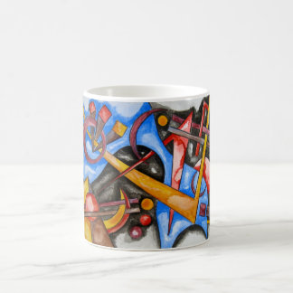 Mug Dans le géométrique peint à la main d'art de