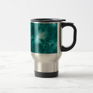 Mug De Voyage Art bleu-clair et blanc de remous de galaxie
