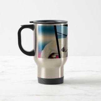 Mug De Voyage Art dimensionnel de chien blanc de whippet,