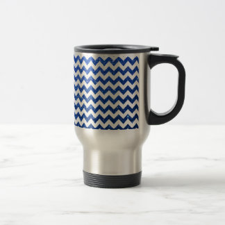 Mug De Voyage Bleu de Chevron de scintillement