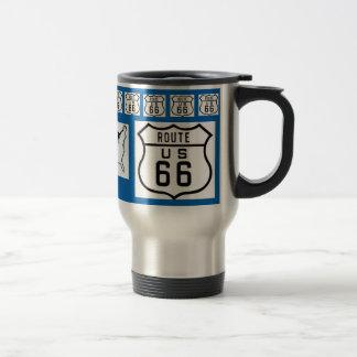 Mug De Voyage Bleu de panneau routier de l'itinéraire 66