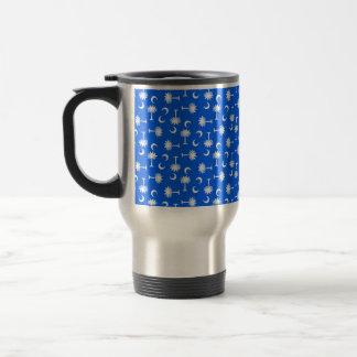 Mug De Voyage Bleu lumineux de drapeau de lune de Palmetto de la