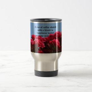 Mug De Voyage Citation d'ami avec des roses