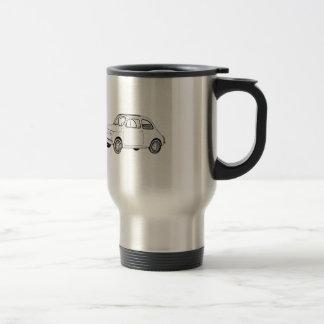 Mug De Voyage Dessin au crayon noir et blanc de Fiat 500