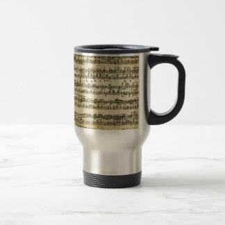 Mug De Voyage Feuille antique de score de musique