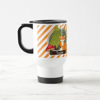 Mug De Voyage Fox de région boisée ; Rayures oranges et blanches