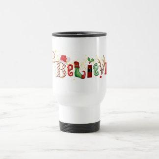 Mug De Voyage Lunatique CROYEZ avec Noël d'étincelles d'or