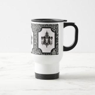 Mug De Voyage Lustre noir vintage de damassé d'art déco de Paris