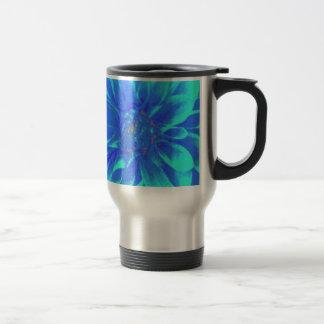 Mug De Voyage Motif de fleur floral bleu turquoise de dahlia