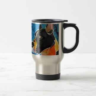 Mug De Voyage Peinture colorée d'encre d'alcool de chien de