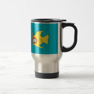 Mug De Voyage Poissons jaunes de natation naviguants au