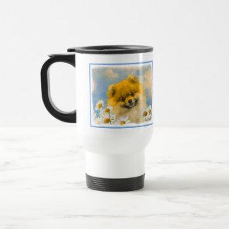 Mug De Voyage Pomeranian dans les marguerites