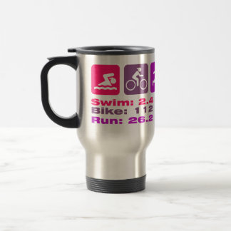Mug De Voyage Pourpre mauve rose de Madame Triathlete Swim Bike