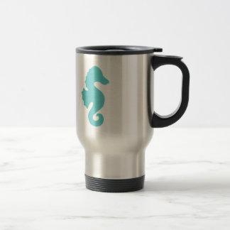 Mug De Voyage Silhouette turquoise d'hippocampe