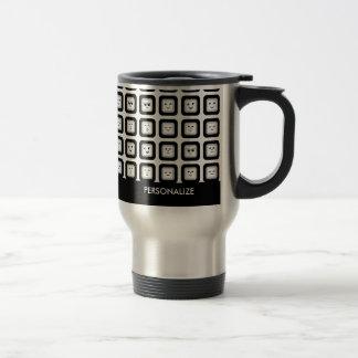 Mug De Voyage Tuiles noires et blanches modernes d'émoticône