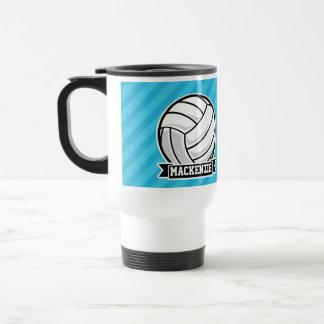 Mug De Voyage Volleyball ; Rayures bleues de ciel