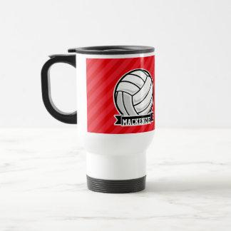 Mug De Voyage Volleyball sur les rayures diagonales rouges