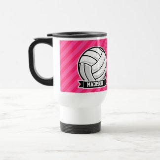 Mug De Voyage Volleyball sur les rayures roses au néon