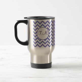 Mug De Voyage Zigzag pourpre décoré d'un monogramme