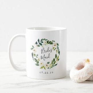 Mug Demoiselle d'honneur florale de guirlande