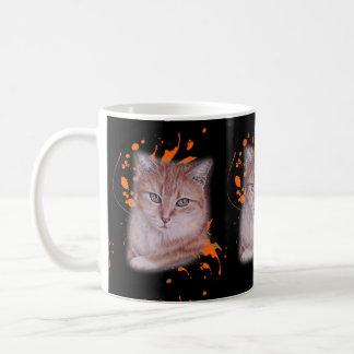 Mug Dessin de chat tigré et de peinture oranges