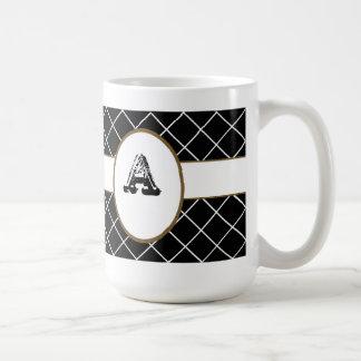 Mug Diamant noir décoré d'un monogramme