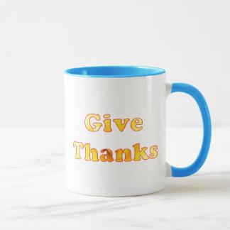Mug Donnez les mercis, art de mot avec le lis jaune,