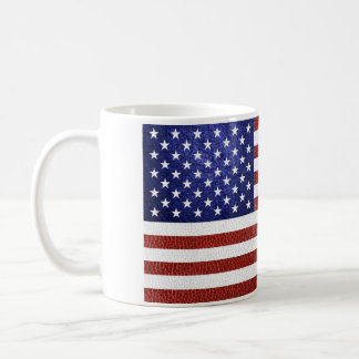 Mug Drapeau bleu blanc rouge des Etats-Unis de cuir de