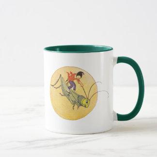 Mug Elf montant le gris de sauterelle