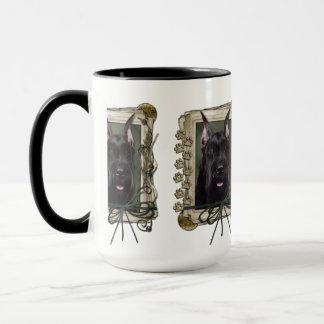 Mug Fête des pères - pattes en pierre - Schnauzer