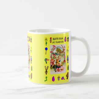Mug Fille avec le poulet et les fleurs
