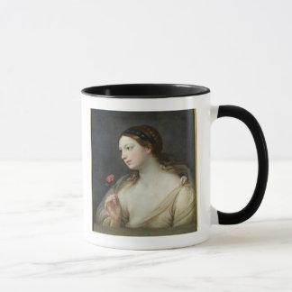 Mug Fille avec un rose (huile sur la toile)