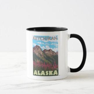 Mug Fireweed et montagnes - Ketchikan, Alaska