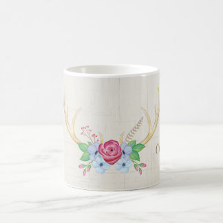 Mug Fleurs rustiques d'andouillers de cerfs communs