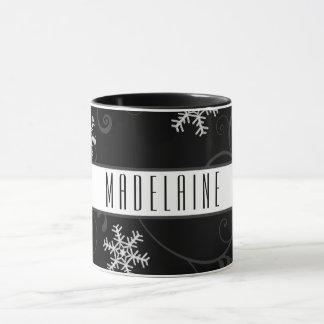 Mug Flocon de neige noir et blanc avec le nom ou le