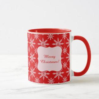 Mug Flocons de neige blancs de Noël classique sur le