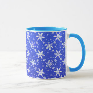 Mug Flocons de neige blancs sur le bleu
