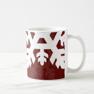 Mug Flocons de neige lumineux et blancs contre rouge