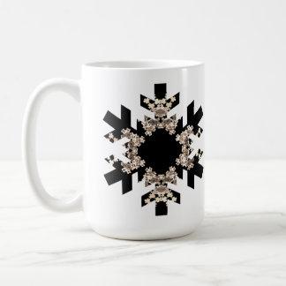 Mug Flocons de neige noirs et blancs d'art de fractale