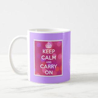 Mug Gardez le calme et continuez l'effet rose de Bokeh