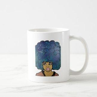 Mug Grands cheveux d'Afro de fille bleue de bois