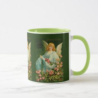 Mug Graphique vintage d'ange avec des roses sur la