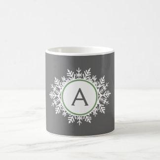 Mug Gris blanc fleuri de monogramme de flocon de neige