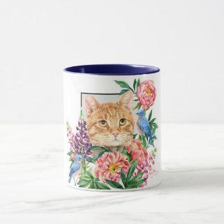 Mug Hanche à être chat tigré orange incliné