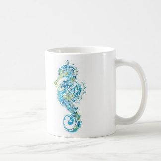 Mug Hippocampe bleu abstrait