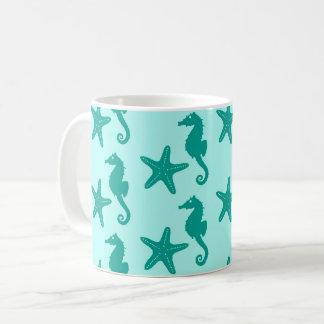 Mug Hippocampe et étoiles de mer - turquoise et aqua
